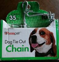 PDQ Boss Pet 10' DOG TIE OUT CHAIN Silver Steel SMALL/MEDIUM Size 35 lbs 27210