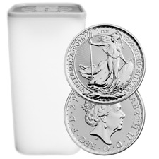 Lot of 25 - 2018 U.K. 2 Pound Silver Britannia .999 1 oz BU Full Roll