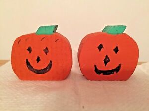 Lot of 2 Country Style Wooden Pumpkin Halloween Decorations--Handmade & Painted