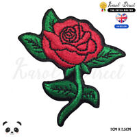 Red Rose Flower Embroidered Iron On Sew On Patch Badge For Clothes etc