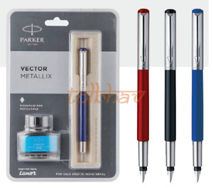 Parker Vector Metallix CT Fountain Pen Refillable - with Free Blue Ink Bottle