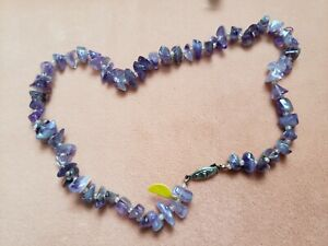 """Hand- Made GENUINE * AMETHYST * NECKLACE 17"""" Long - Made in USA"""