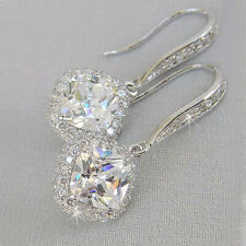 Elegant 925 Silver Drop Earrings for Women White Sapphire Jewelry A Pair/set