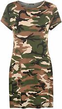 Womens Plus Camouflage Print Top Baggy Oversized Short Sleeve Long T-Shirt
