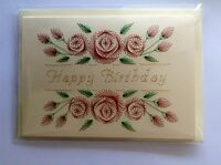 HANDMADE STITCHED BIRTHDAY CARD - HAPPY BIRTHDAY - GREETING CARD- RED ROSES