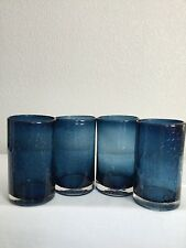 Set of 4 Hand Blown Midnight Blue Bubble Heavy Drinking Glasses 18 oz 5 3/4""