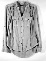 Rock and Republic Women's  Button Down Shirt Size Small beaded Embellished gray