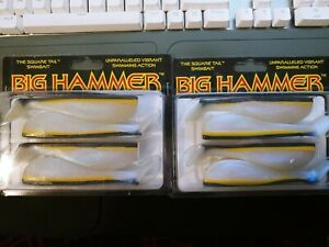 Lot of 2 Big Hammer Square Tail Swim Baits. 5 inch, color: Bay Smelt