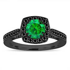 Vintage Style Enhanced Green Diamond Engagement Ring 14K Black Gold 1.21 Carat