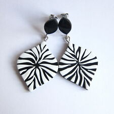 Black and White Geometric Fashion Zebra Pattern Dangle Big Stud Earrings Jewelry