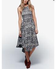 Free People Women's New 'Seasons In The Sun' Blue Printed Midi Halter Dress XS
