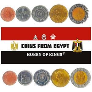 MONEY SET OF 5 COINS FROM EGYPT: 5, 10, 25, 50 PIASTRES, 1 POUND. 2004-2021