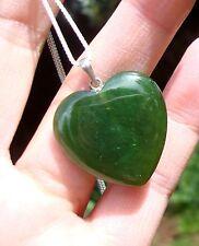 Canadian High Grade Cassiar Jade Heart Pendant Translucent Jade  S Silver Chain