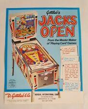 1977 Gottlieb JACKS OPEN Original Vintage Pinball Machine Flyer Ad NOS