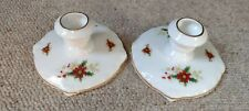 More details for royal albert - poinsettia. pair of candle holders candlesticks christmas vintage