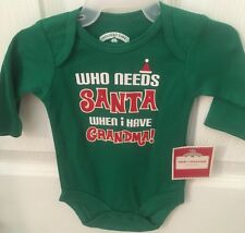"NWT Newborn Baby's Christmas One Piece ""Who Needs Santa When I Have Grandma"""