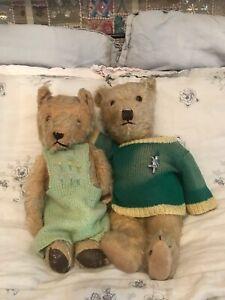 Antique Vintage Teddy Bears - Arthur & Maude - Good Condition Collectable