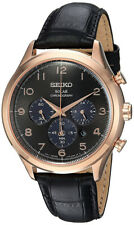 Seiko Men's Solar Chrono 100m Stainless Steel/Black Leather Watch SSC566