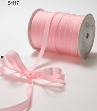 "3/8"" Grosgrain Stitched Edge Ribbon – May Arts - Pink/White - BH17 - 5 yds"