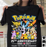 Pokemon 25th Anniversary Characters Gift For Gamers Unisex Tshirt S-5XL Black