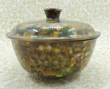 VINTAGE  CHINESE CLOISONNE BOWL with LID - JAR - Amber Floral - Enamel Brass
