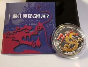 500 Francs CFA Year of the Dragon 2012 Benin Silver Proof, Red and Gold Dragon