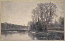 Grand dessin au fusain de Jean BERMOND vers 1878 Carnoy Somme