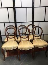 SET OF 6 VICTORIAN ORNATELY CARVED BALLOON BACK DINING CHAIRS ON CABRIOLE LEGS