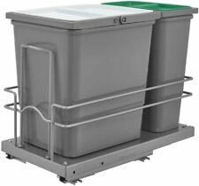 Sink Base Waste Bottom Mount Double Bin Trash Can with 2 Lids and Soft Close