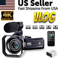 Camcorder Video Camera Ultra HD 4K 48MP Camcorder Camera VLOG Microphone Remote