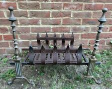 VINTAGE ANTIQUE STYLE HEAVY CAST IRON BRASS LOG DOG OPEN FIRE PLACE BASKET GRATE
