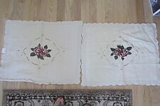 """2 Vtg Large lace Embroidered Roses Pillowcases Ecru-New-31""""X25"""" ; Shabby"""
