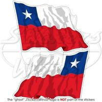"CHILE Chilean Flying Flag, South America Vinyl Stickers, Decals 75mm (3"") x2"