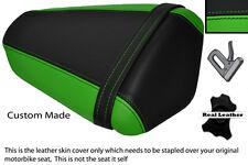 GREEN & BLACK CUSTOM FITS KAWASAKI NINJA ZX6 R 09-13 PILLION LEATHER SEAT COVER