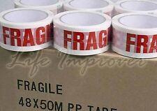 6 Rouleaux de Ruban Adhésif 48mm avec Fragile Imprimé Rouge sur emballage Blanc
