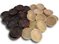 30 Backgammon Pieces Wooden Checkers Dark Brown Natural Wood
