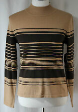 Andrea Viccaro, Small Camel/ Brown Striped Sweater, New with Tags
