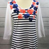 New Christopher Banks Women's Floral Cotton 3/4 Sleeve Tops Sz S, M & XL  A1811
