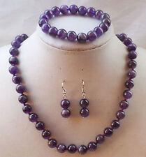 Charming 10mm Russican Amethyst Beads Gemstone Necklace Bracelet Earrings Set