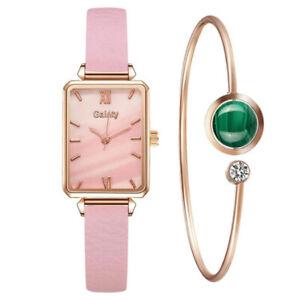 Watch Women Rose Gold Quartz Watch Bracelet Set