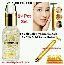 24k GOLD HYALURONIC ACID & 24K GOLD DERMA ROLLER SKIN LIFTING WRINKLE SKINCARE