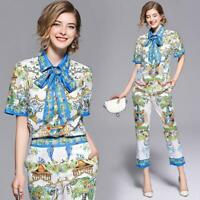 2018 hot women temperament printing bowknot shirt+pencil pants suits slim fit sz