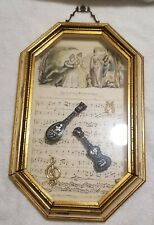 Antique Sungott Watercolor Framed Print w/ Real Tortoise Shell Instruments