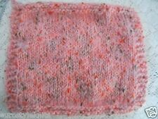 "Mini Hand knitted Blanket-rug 8 in x 10"" pink  motled for tiny ooak doll-house"