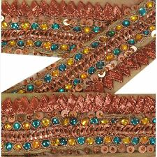 Vintage Sari Border Antique Hand Beaded 2 Yd Indian Trim Décor Ribbon Green Lace