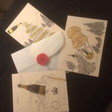 Unused Moet & Chandon Invitation Postcard Set with Seal Suit Christmas Invite