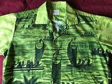 mens large vintage Stan Hicks Hawaiian Casuals green shirt L