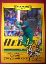 PAKISTAN, JAVED MIANDAD - SCANLENS 1986-87 CLASHES FOR THE ASHES Cricket Card #9
