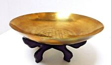 Vintage Chinese Solid Brass Engraved Bowl with Black Wood Stand