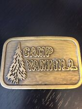 Camp Yamhill Belt Buckle Oregon Pine Trees Brass Heavy Dimensional